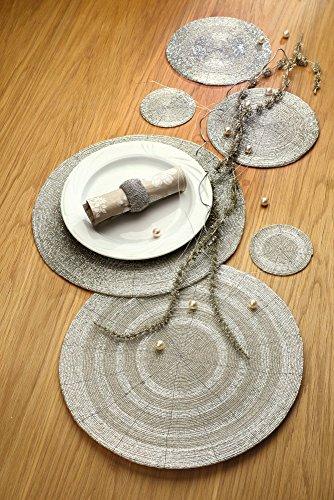 GILDE Set de table en tissu Motif fleurs Beige/blanc 48 x 32 cm