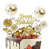 JIASHA Birthday Kuchen,17 Stücke Cake Topper,Geburtstag Torte Topper,Konfetti Luftballon Papierfächer Kuchendeko Geburtstagstorte,Torte für Geburtstagsfeier Dekoration (Golden)