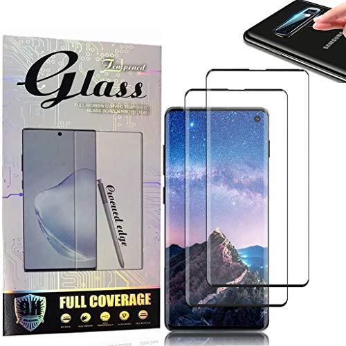 Protector de pantalla de cristal templado para Samsung Galaxy S10 [2 unidades] cobertura completa [antiarañazos] 3D Full HD Coverage desbloquea la pantalla para S10