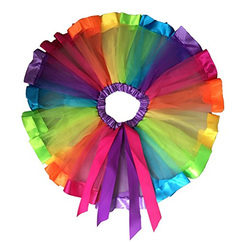 Tutú Pixnor con capas de los colores del arcoiris, falda de volantes para bailar, para fiestas