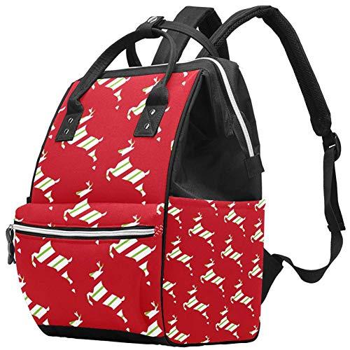Grand sac à langer multifonction pour bébé, sac à dos, sac à dos, sac à dos, sac à dos pour maman et papa, élan de Noël