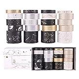 20 Rollos Cintas Adhesivas Washi Tape, Cinta Adhesiva Decorativa Diseño de estilo japonés para artes y manualidades, Embellecer revistas de balas, Planificadores, Scrapbooking Black