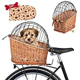 Rivetino Bicycle Basket Rear Mount Willow Bicycle Basket Small Pet Cat Dog Cage Carrier, Outdoor Male and Female Car Basket