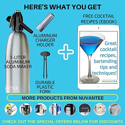 Innovee Soda-Siphon – Der beste Sodasprudler – Aluminium – 1 Liter + Cocktail Rezepte Ebook – Bereiten Sie Sprudelwasser mit Leitungswasser oder aus der Flasche vor – Bereiten Sprudelwasser vor wann Sie es vollen – benötigt Standard-CO2 Kapseln (nicht enthalten) - 6