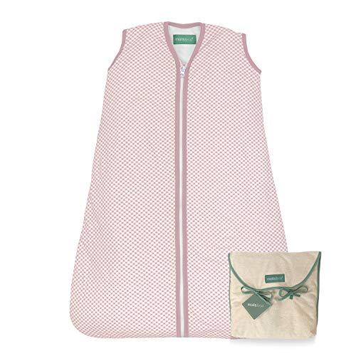 molis&co. Saco de Dormir para bebé. 1.0 TOG. 6 a 18 Meses. Ideal para Primavera y otoño. Vichy Pink. 100% algodón orgánico (Gots).