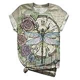Camiseta de manga corta para mujer de KEERRADS, estampado de mariposas, cuello redondo, camiseta de verano Libélula verde. XXL