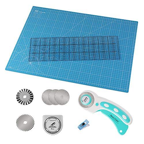 MVPower Kit de Estera de Corte, Kit para Patchwork A2 (45 x 15 cm), Incluye Alfombrilla de Corte A2, Cortador Rotatorio, 5 Cuchillas de Repuesto, 20 Abrazaderas de Plástico, Regla de Patchwork