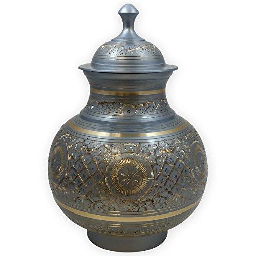 Beautiful Life Urns Wiener Urne aus Metall, groß, aufwändige Silberurne mit Gold geätzt