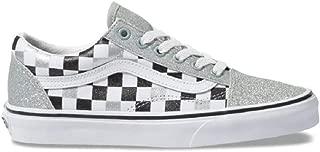 Kids Old Skool Glitter Checkerboard Silver True White Skate Shoe