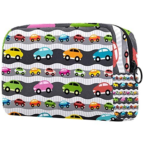 Yitian Bolso cosmético colorido del modelo de los coches de la historieta para las mujeres, bolso espacioso adorable del maquillaje de los bolsos del viaje