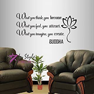 Wall Vinyl Decal Home Decor Art Sticker Buddha Quote What You Think You Become What You Feel You Attract… Yoga Living Room Bedroom Room Removable Stylish Mural Unique Design 592