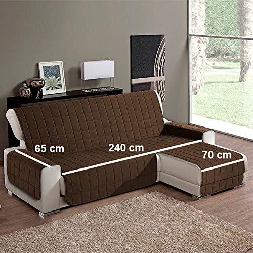 Simplicity Plus Copridivano Salvadivano idrorepellente adatto per PENISOLA (chaise longue) sia a destra che sinistra (240 cm, Marrone).Colori certificati OEKOTEX