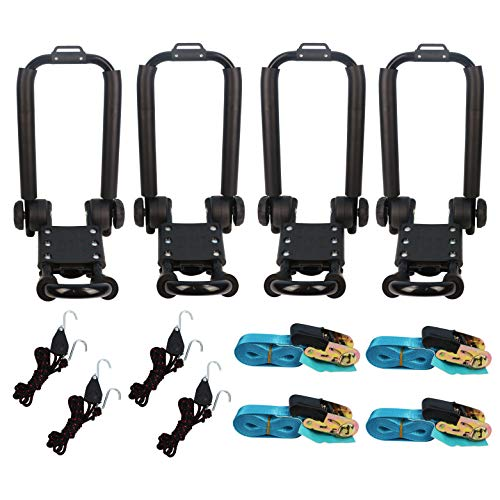 Premium Folding Kayak Rack J-Bar Car Roof Rack for Canoe Carrier SUP Paddle Surfboard Mount on Car SUV and Truck Crossbar, Includes 4 pcs 10Ft S-Hook Rated Ratchet Pulleys Straps Ratchet Strap(2 Pair