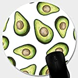 Matcase for Circle Cute Mouse Pad - Avocado Pattern with Non-Slip Rubber Stitched Edge, Waterproof Office Mouse Pad