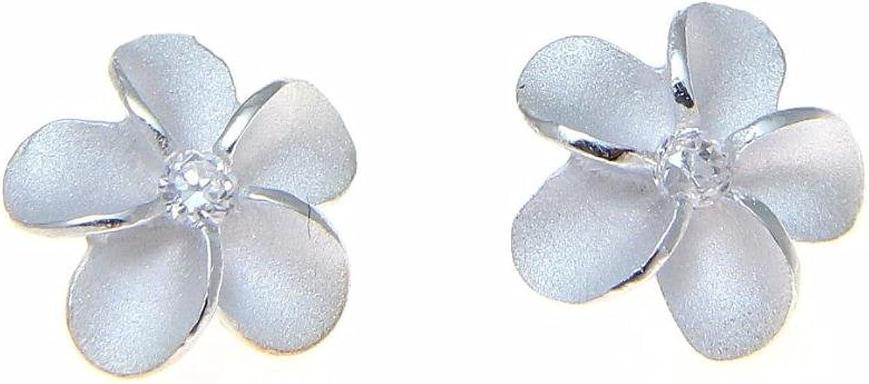 Sterling trust silver 925 Hawaiian Factory outlet plumeria earrin stud post flower cz