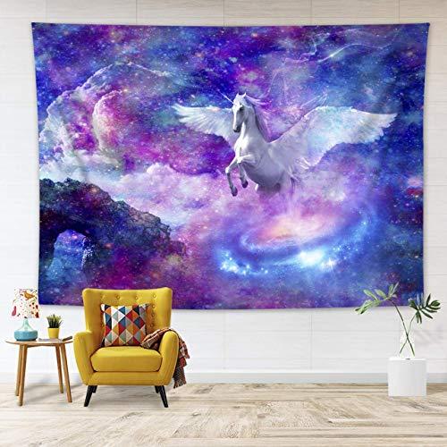 White unicorn tapestry Psychedelic tapestry Yoga mat Indian mandala Bohemian tapestry Tarot Wall-mounted(White unicorn XXL/180x230cm)