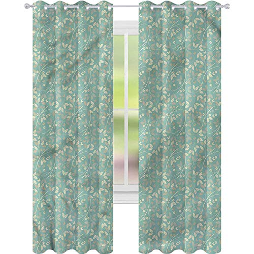 YUAZHOQI Cortina opaca para ventana, color marfil y beige, decoración de hojas de margaritas, 132 x 274 cm (2 paneles)