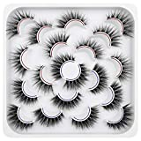 Pawotence Mink Lashes False Eyelashes Pack Wispy 18mm Cat Eye Lashes 10 Pairs Natural Faux Mink Lashes Pack 2 Styles 3D Soft Lightweight Reusable Fake Eyelashes