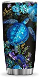 64HYDRO 20oz Blue Flower Turtle Inspiration Motivation Sea Ocean Turtle Lover Tumbler Cup with Lid, Double Wall Vacuum Thermos Insulated Travel Coffee Mug - HLZ0212004