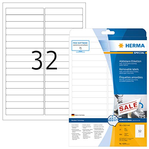 HERMA Self Adhesive Removable Multi-Purpose Labels, 32 Labels Per A4 Sheet, 800 Labels for Printers, Small, 96 x 16.9 mm (4209)