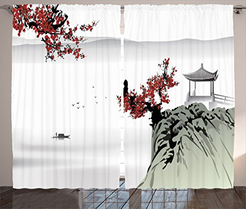 """Ambesonne Asian Curtains, River Scenery with Cherry Blossoms Boat Cultural Hints Mystical View, Living Room Bedroom Window Drapes 2 Panel Set, 108"""" X 90"""", Ruby Grey"""