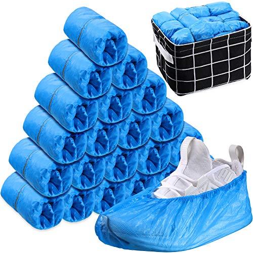 150 Stücke Einweg Schuhüberzüge Wasserdichte CPE Stiefel Überzüge Rutschfeste Schuhüberzüge mit Aufbewahrungsbox für Innen- und Außenbereich Teppich Boden Schutz