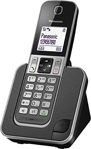 Panasonic KX-TGD310 - Teléfono (DECT, Escritorio, Negro, Color Blanco, Auricular, LCD, 1880000000-1900000000 Hz, Identificador de Llamadas a) Color Negro, Blanco [Versión Importada]