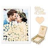 Creawoo Marco de madera para libro de firmas (parte trasera extraíble) con 100 corazones en blanco y placa para invitados para presentes regalos de boda (blanco)