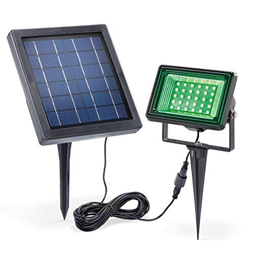 Solar LED Außenstrahler Dauerlicht oder Wechsellicht Lichtfarbe RGB rot grün blau 4 Watt Solarmodul für Wand- oder Bodenmontage Solar Flutlicht Solarleuchte esotec 102362