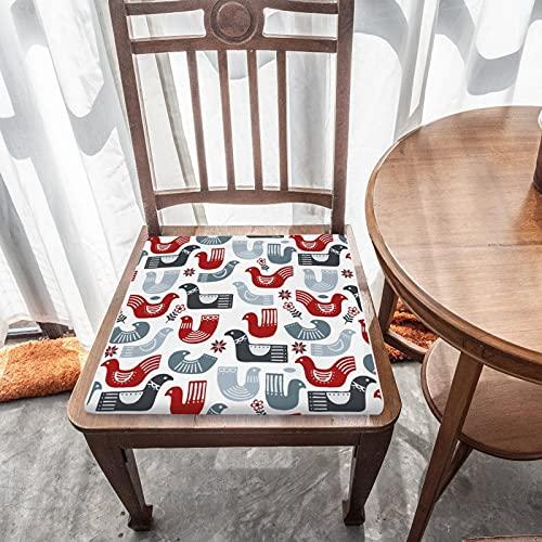 Cojín de asiento extraíble para decoración del hogar, para exteriores, jardín, patio, cocina, oficina, lavable, cuadrado, cómodo, diseño de pájaro nórdico