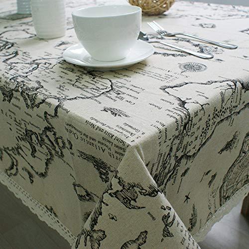 WSF-MAP, 1 stück weltkarte pädagogische tisch tuch baumwolle leinen spitze tischdecke modern rechteck essen tisch abdeckung für küche, wohnkultur, 9 größe