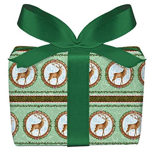 5er Set Weihnachts Geschenkpapier Bögen HIRSCH GRÜN Weihnachten, Adventszeit, Weihnachtspapier für Weihnachtsgeschenke, Adventskalender Format 50 x 70 cm