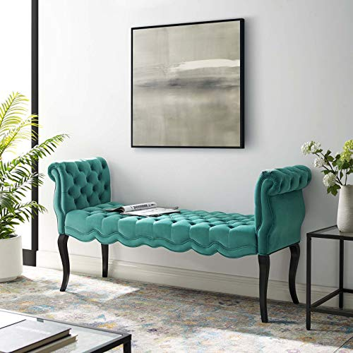 Modway Adelia Chesterfield Style Performance Velvet Entryway Bench in Teal