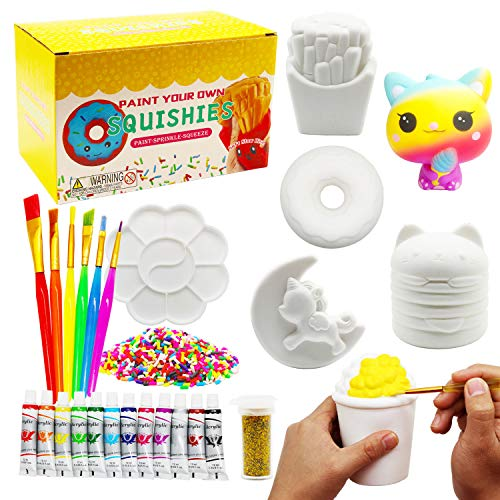 Korilave Squishies DIY Art Crafts Dessert Kits for Girls Gift Paint Your Own Squishy Toy Jumbo Soft Slow Rising Stress Relief Fidget Toys for Ages 4 5 6 7 8 Kids27Pcs