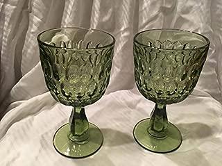 Vintage Set of Two Fenton Avocado Green Thumbprint Water Goblets (6.5
