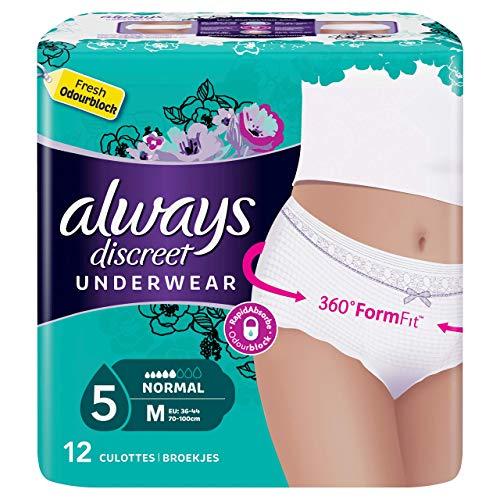 Always Discreet Damen Slipeinlage bei Blasenschwäche und Inkontinenz, Größe M, 12Stück