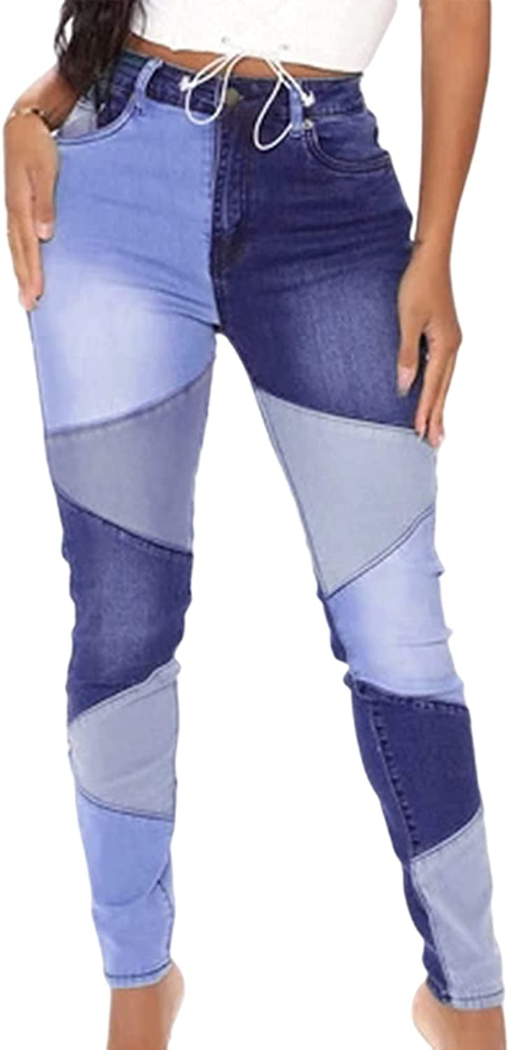 Women's Mom Jeans High Waisted Patchwork Skinny Denim Pants Butt Lift Ankle Jeans Slim Fit Distressed Jeans Pants