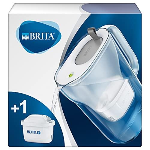 BRITA Wasserfilter Style hellgrau inkl. 1 MAXTRA+ Filterkartusche – BRITA Filter in modernem Design zur Reduzierung von Kalk, Chlor & geschmacksstörenden Stoffen