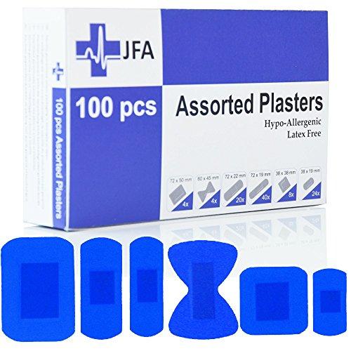 JFA Medizinische blaue Pflaster, 6 verschiedene Größen, 100 Pflaster pro Packung