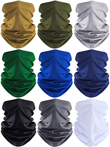 9 Pieces Summer Face Cover UV Protection Neck Gaiter Scarf Sunscreen Breathable Bandana