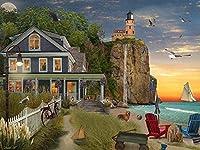 ビーチのシービューハウス-大人のための1000ピースのジグソーパズル脳の挑戦のための子供大規模な教育知的ゲーム家の装飾-50cmx75cm