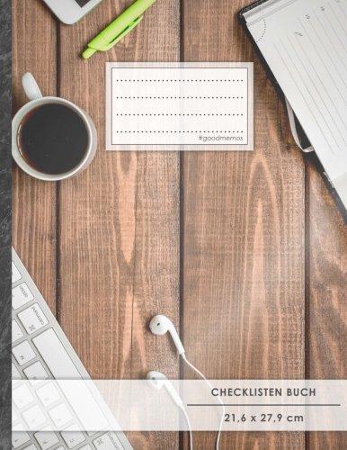 """Checklisten-Buch: DIN A4 • 70+ Seiten, Softcover, Register, \""""Schreibtisch\"""" • #GoodMemos • 18 Checkboxen + Platz für Notizen/Seite (inkl. Register mit Datum uvm.)"""