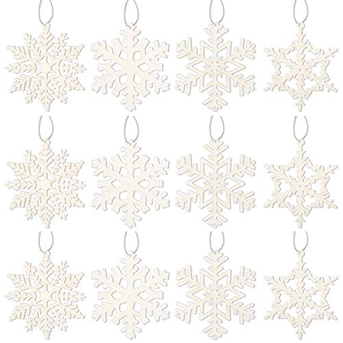 40PC Christmas Glitter Snowflake Ornaments for Christmas Tree Decoration, 4 inch, White