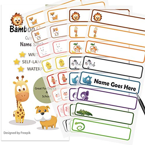 Baby Bottle Labels for Daycare School  Waterproof Write-On  Self-Laminating Name Labels  Tags  Sticker Multiple Colors(Animals)
