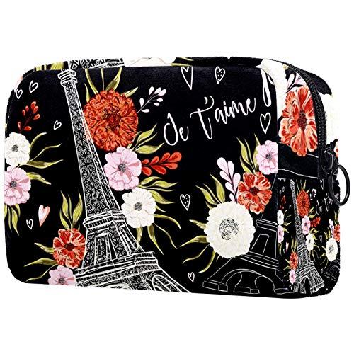 Organizador de cosméticos de viaje para mujer con cremallera, bonito patrón del alfabeto rosa bolsas de aseo