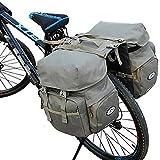 自転車用リアバッグ/自転車用サイドバッグ 50L 大容量 防水 自転車用バッグ キャンバス 自転車用バッグ サイクリングバッグ サイクリング キャンプ/バイク/レインカバー付き (グレー)