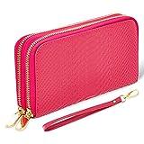 bluzelle Portafoglio da Donna e Cameriere in Vera Pelle - Spazio per il Contanti e Smartphone - Design alla Moda e Accattivante, Colore:Pink