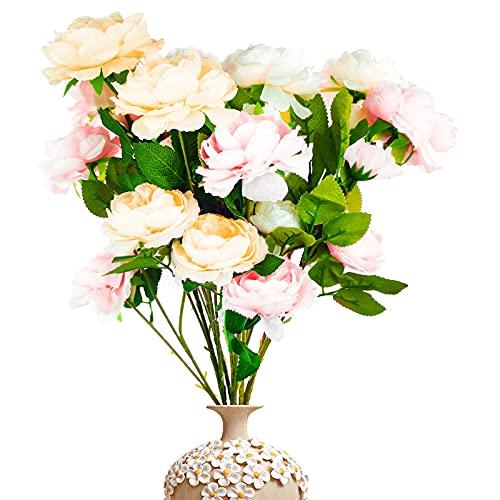 XSHAO 9 Pezzi Peonie Artificiali, Bouquet Fiori di Peonie di Seta per Decor Matrimonio Casa Centrotavola Composizioni Floreali Cimitero
