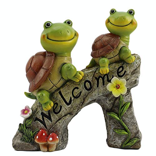 Solar Garden Ornaments Outdoor, Turtle Garden Statue, Waterproof Resin Dwelling Ornament with LED Lights for Yard Lawn Decorations and Gift