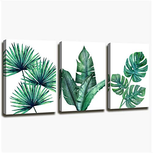 Botanical Prints Wall Art for Bathrooms , 3 pieces Framed Canvas Tropical Plants Pictures Minimalist Watercolor Painting , Palm Banana monstera Green Leaf Wall Decor for Office Bedroom Living Room
